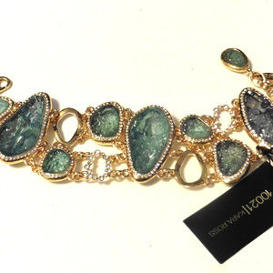 Kara Ross Resin Green Fancy Bracelet 8 1/2 Inches